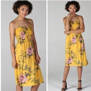 Yellow Smocked Floral Boho Midi Sundress